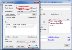 XviD codec settings